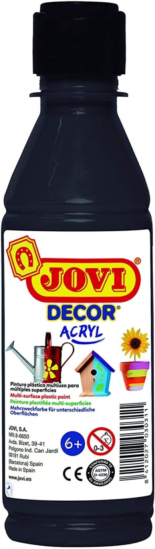 BOTE PINTURA JOVIDECOR ACRYL NEGRO 250ML 8412027024488