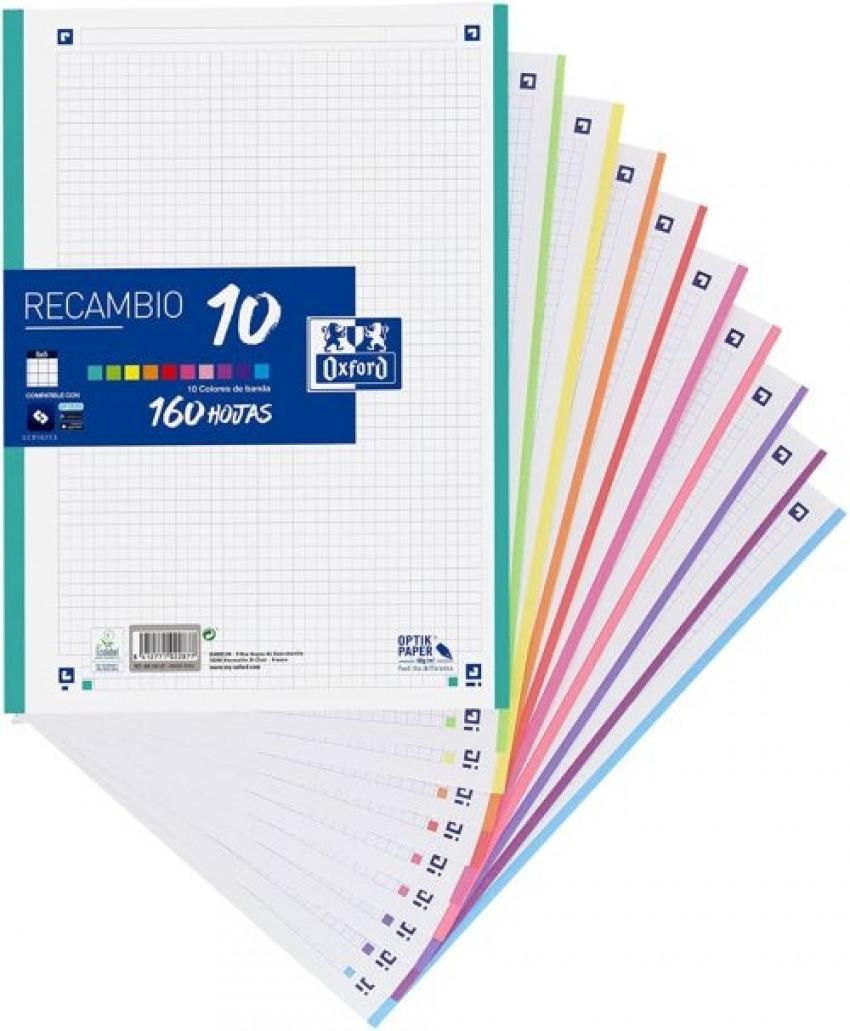 Recambio multicolor a4 160h 90g 4 taladros cuadrícula 5x5 10 colores de banda 8412771022877