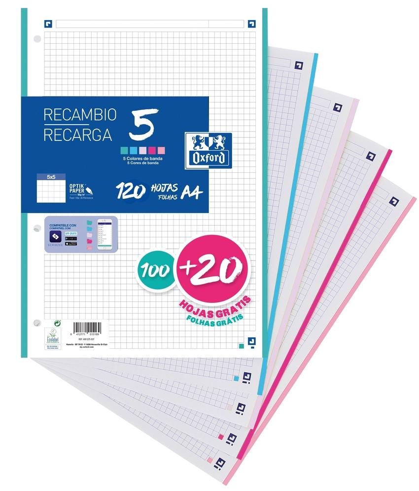 Recambio 5 multicolor a4 100+20h 90g 4 taladros cuadricula 5x5 con 5 colores de banda pastel 8412771