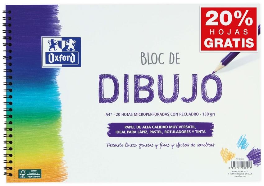 BLOC DIBUJO ESPIRAL RECUADRO A4+ 20H 130G. OXFORD 8412771038113