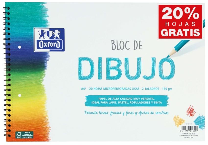 BLOC DIBUJO ESPIRAL LISO 2 TALADROS A4+ 20H 130G. OXFORD 8412771038151