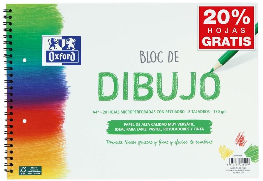 BLOC DIBUJO ESPIRAL RECUADRO 2 TALADROS A4+ 20H 130G. 8412771038199