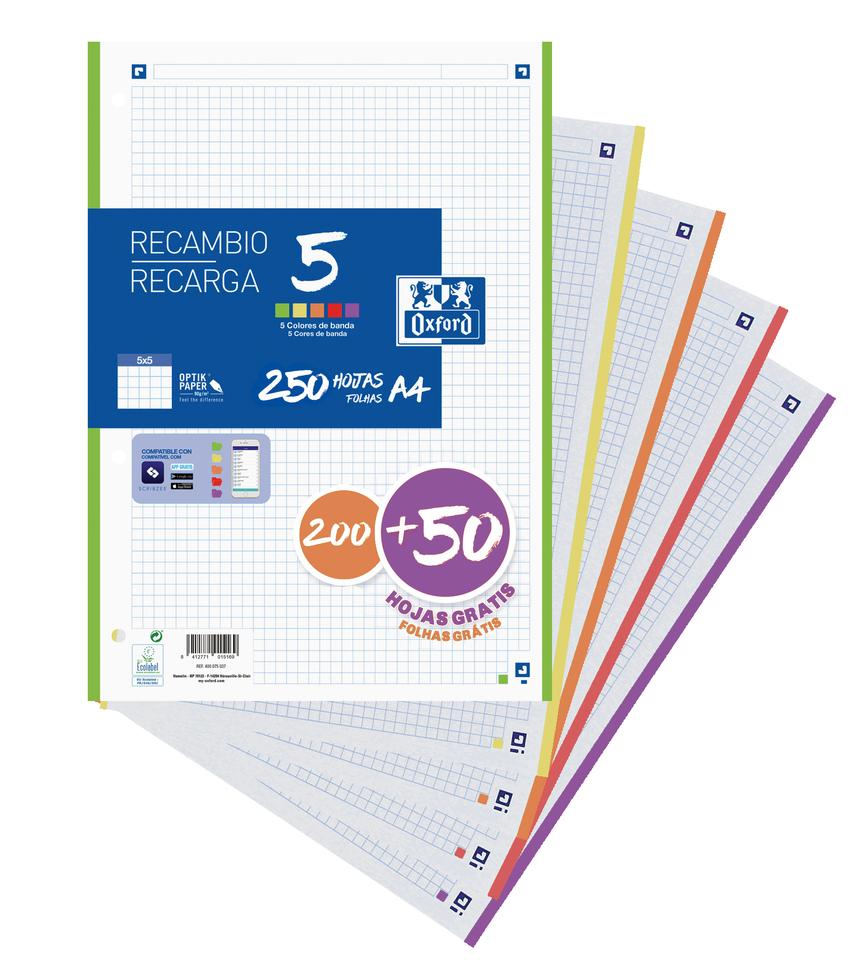 Recambio 5 multicolor A4 200+50h 90g 4 taladros cuadricula 5x5 colores vivos 8412771039745