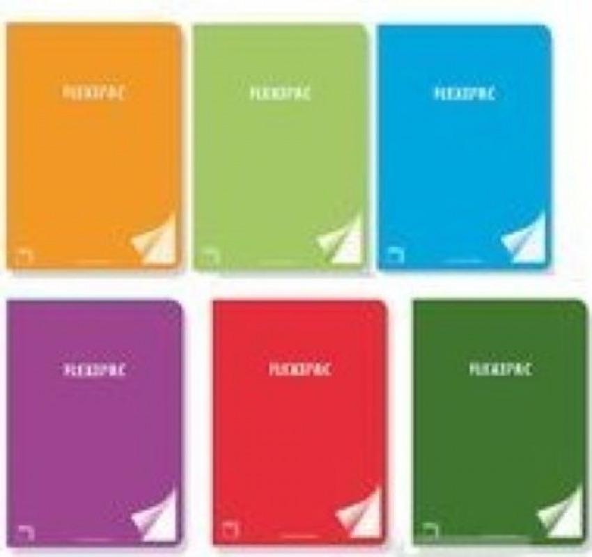 Paq/6 libreta a4 48h 90g liso flexipac tapa plastico colores surtidos 8412855200429