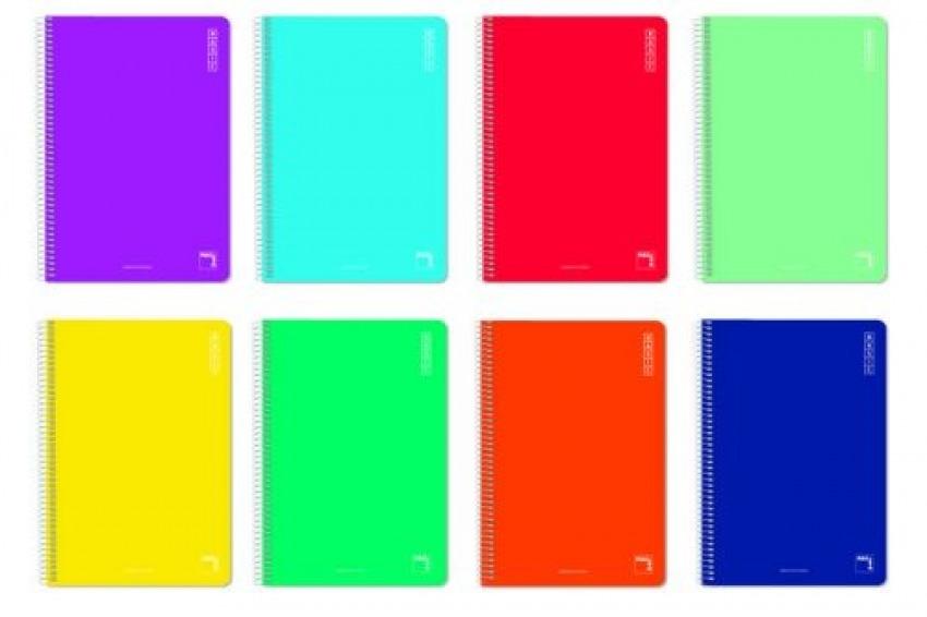 Paq/10 cuaderno espiral 4o. 80h 60g. liso tapa carton pacsa 8412855363070