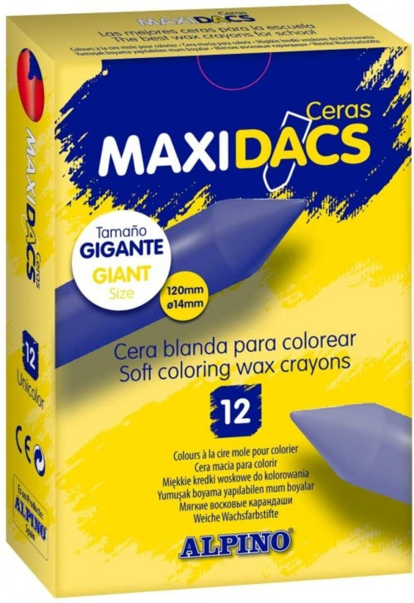 ESTUCHE 12 CERAS BLANDAS MAXIDACS AMARILLO CLARO 8413240400493