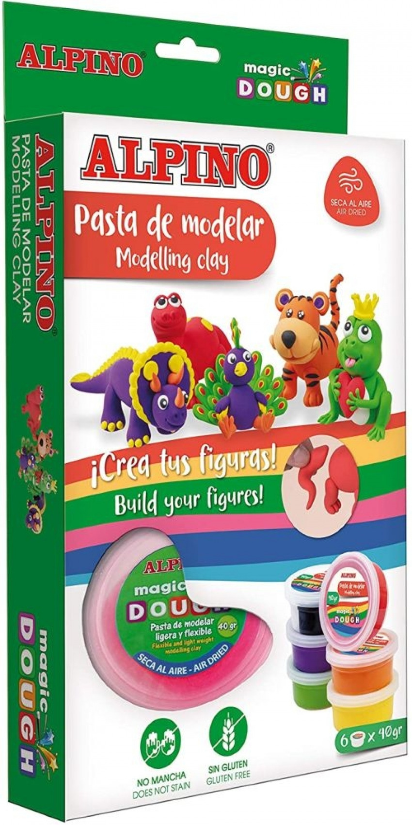 Estuche 6 botes 40g. pasta modelar magic dough funny animal 8413240603870