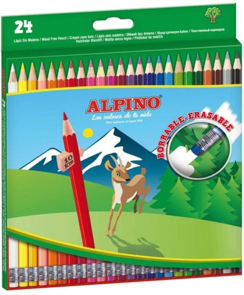 ESTUCHE 24 LAPICES COLORES HEXAGONAL BORRABLE ALPINO 8413240604273