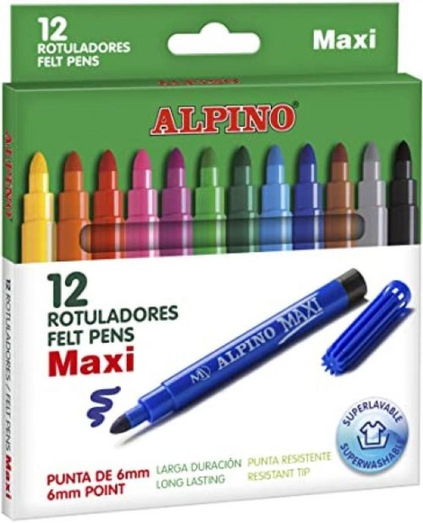 ESTUCHE 12 ROTULADORES ALPINO MAXI PUNTA GRUESA 8413240609292