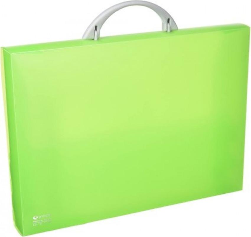 Maletín portadocumentos polipropileno verde claro 345x245x40 mm. con asa abatible y broche. 8