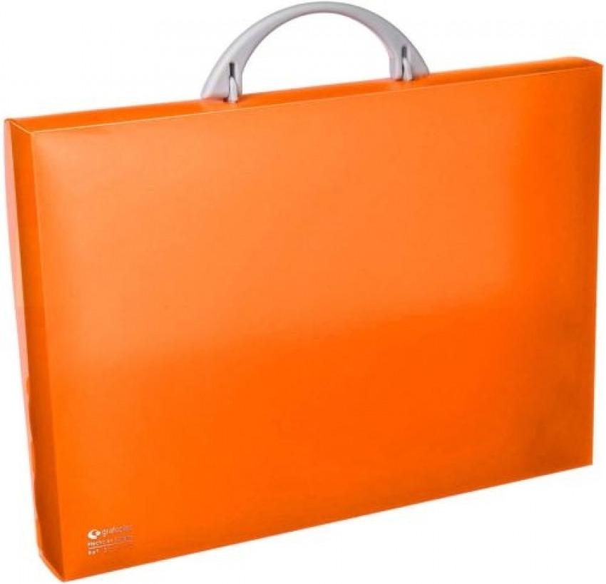 Malet¡n portadocumentos polipropileno naranja 345x245x40 mm. con asa abatible y broche. 84136230105