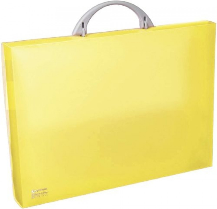 Maletín portadocumentos polipropileno amarillo 345x245x40 mm. con asa abatible y broche. 8413