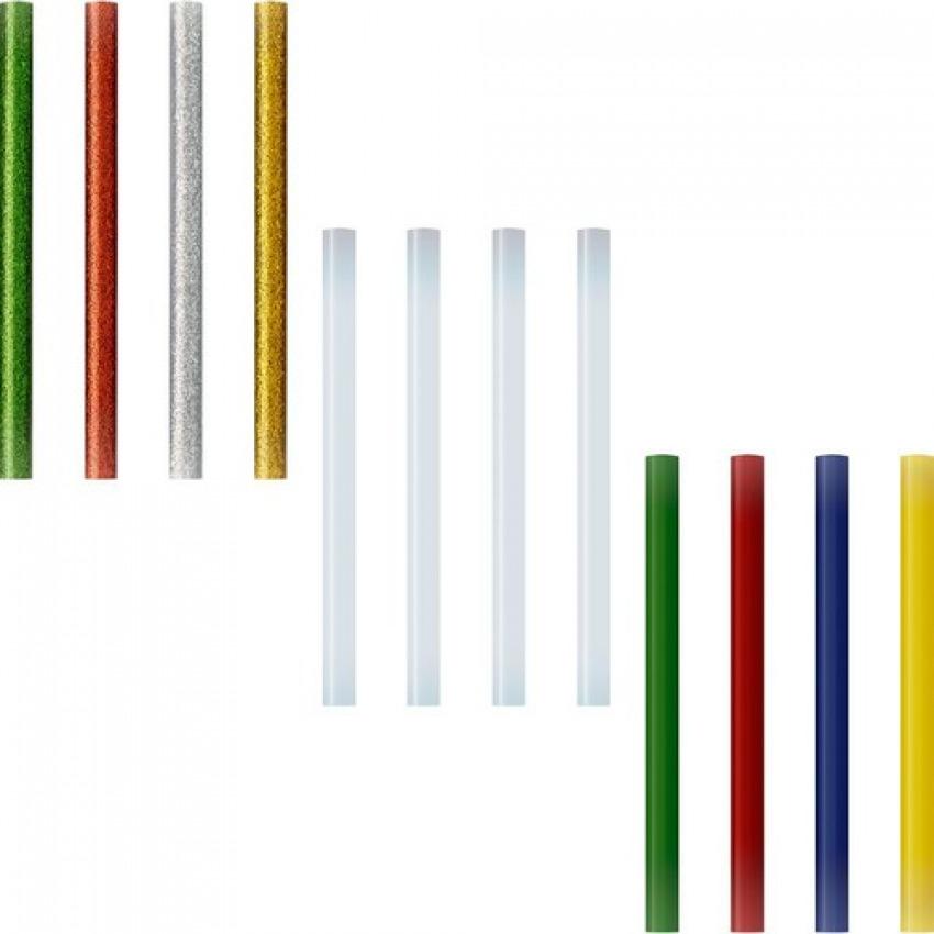 Blister 12 recambios barra silicona 7,5mm colores 8413623029723
