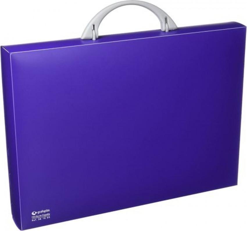 Maletín portadocumentos polipropileno violeta 345x245x40 mm. con asa abatible y broche. 84136