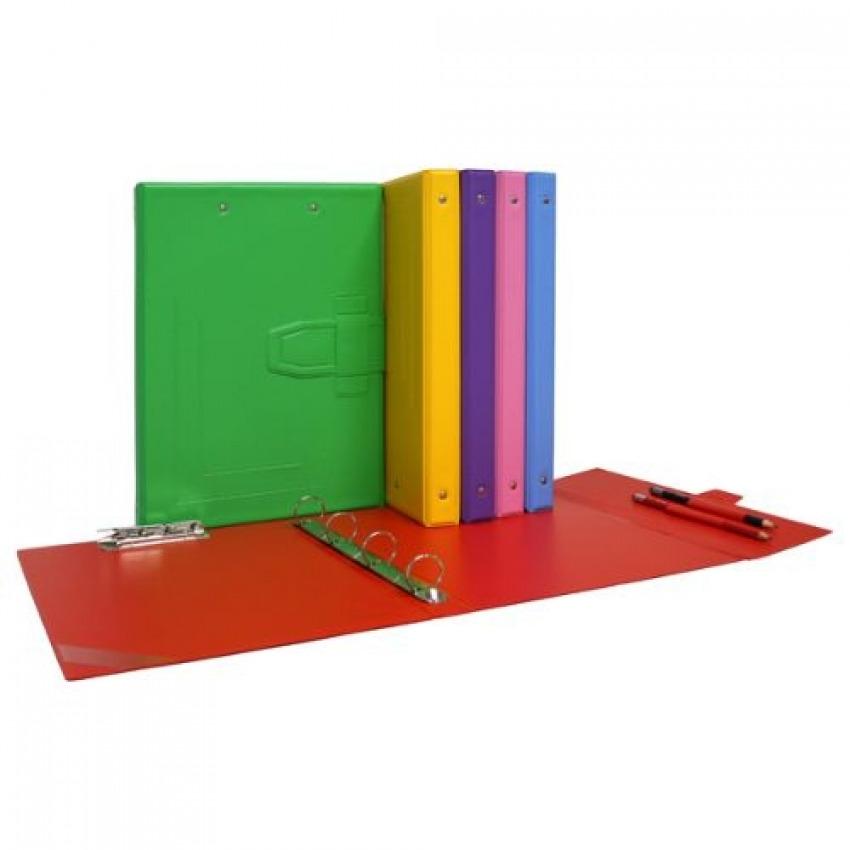 CARPETA 4 ANILLAS 25MM Y MINICLIP PVC AZUL CLARO 8413623835386