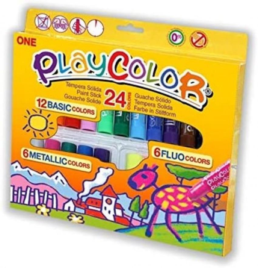 Estuche 24 playcolor one 10g 12 basic + 6 metallic + 6 fluo colores surtidos 8414213020410