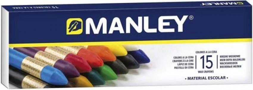 Estuche 15 ceras manley blandas colores surtidos 8414326000552