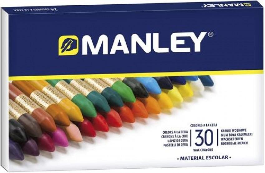 Estuche 30 ceras manley blandas colores surtidos 8414326000774