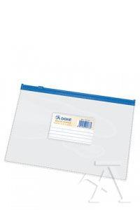 BOLSA ZIPPER A5 APAISADO PVC TRANSPARENTE CIERRE AZUL 8421938994735