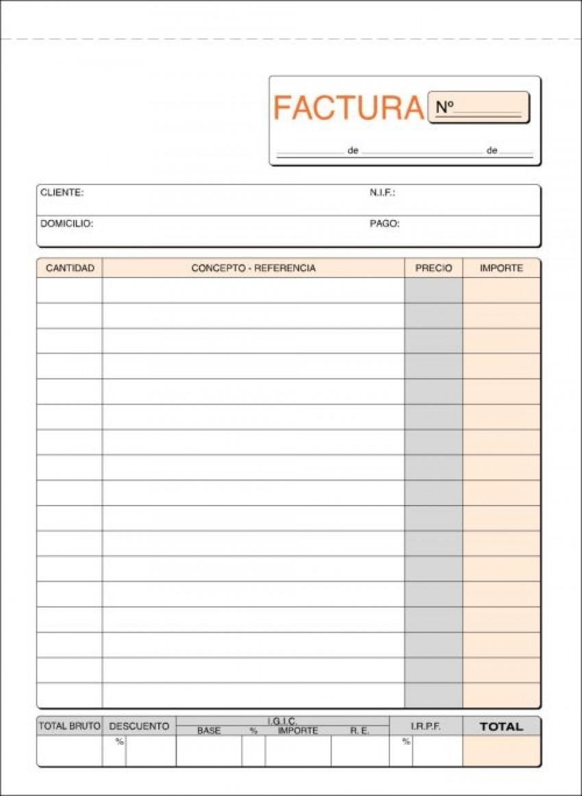 Paq/10 talonario de facturas con i.g.i.c. 1/4 natural duplicado autocopiativo 8422742320635