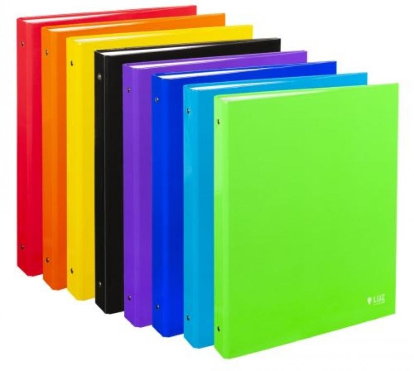 Exp 6 carpeta fo. 4 anillas 40mm carton forrado colores surtidos serie luz 8422951051610