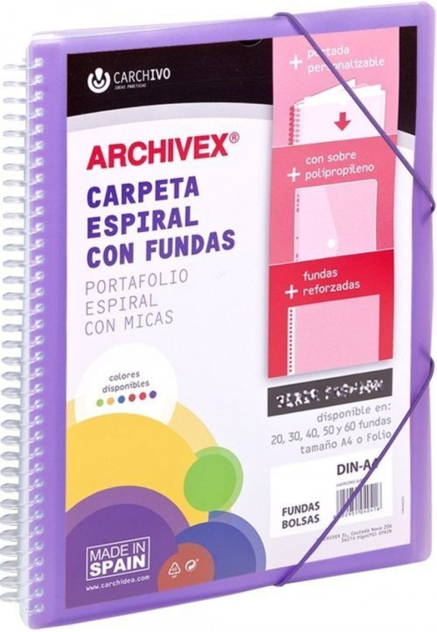 CARPETA 40 FUNDAS A4 ESPIRAL ARCHIVEX STAR VIOLETA CARCHIVO 8422951052600