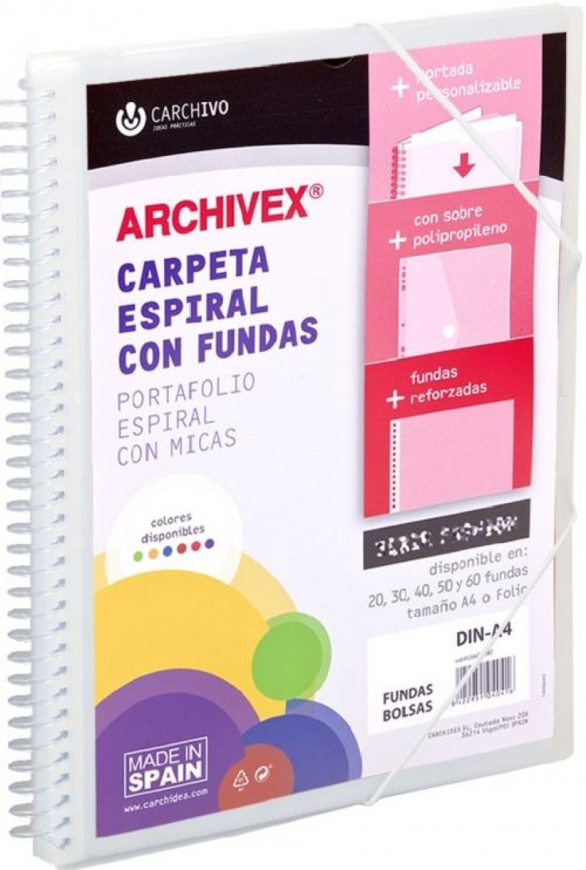 CARPETA 20 FUNDAS CANGURO A4 ARCHIVEX STAR INCOLORA 8422951054192