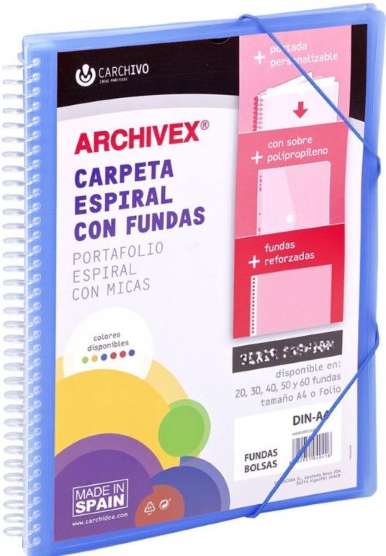 CARPETA 20 FUNDAS CANGURO A4 ARCHIVEX STAR AZUL 8422951054215