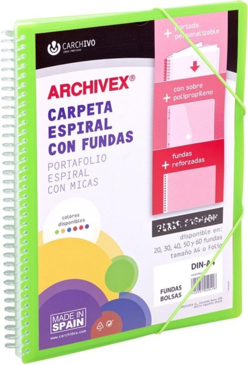 CARPETA 30 FUNDAS CANGURO A4 ARCHIVEX STAR VERDE CLARO 8422951054314