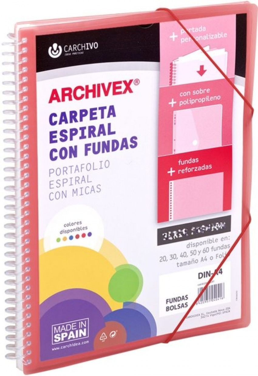 CARPETA 30 FUNDAS CANGURO A4 ARCHIVEX STAR ROJO 8422951054338
