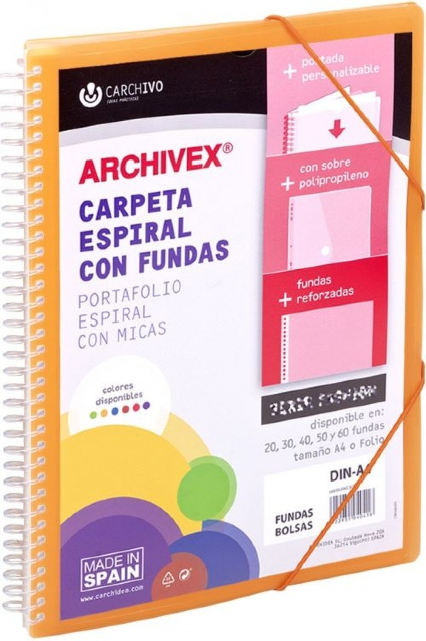 CARPETA 40 FUNDAS CANGURO A4 ARCHIVEX STAR NARANJA 8422951054413