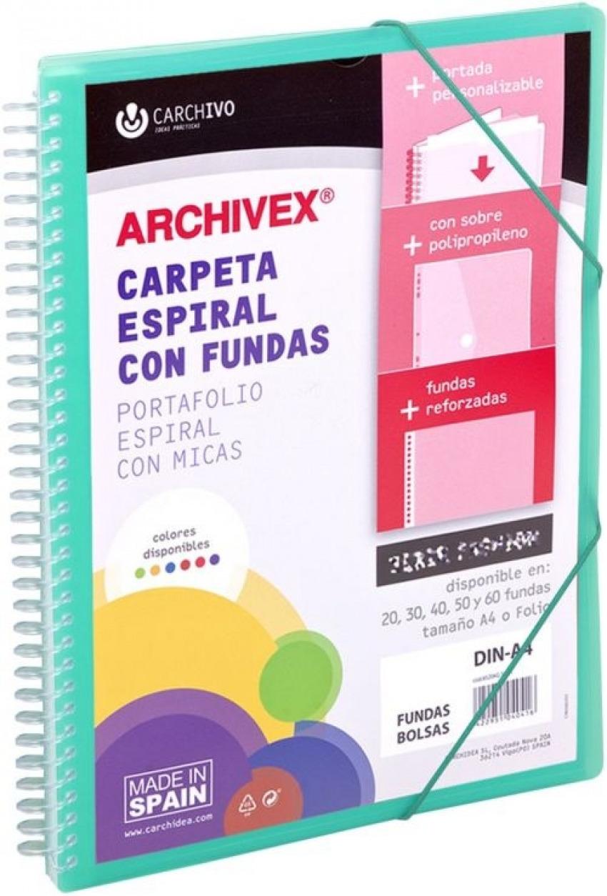 CARPETA 40 FUNDAS CANGURO A4 ARCHIVEX STAR VERDE 8422951054437