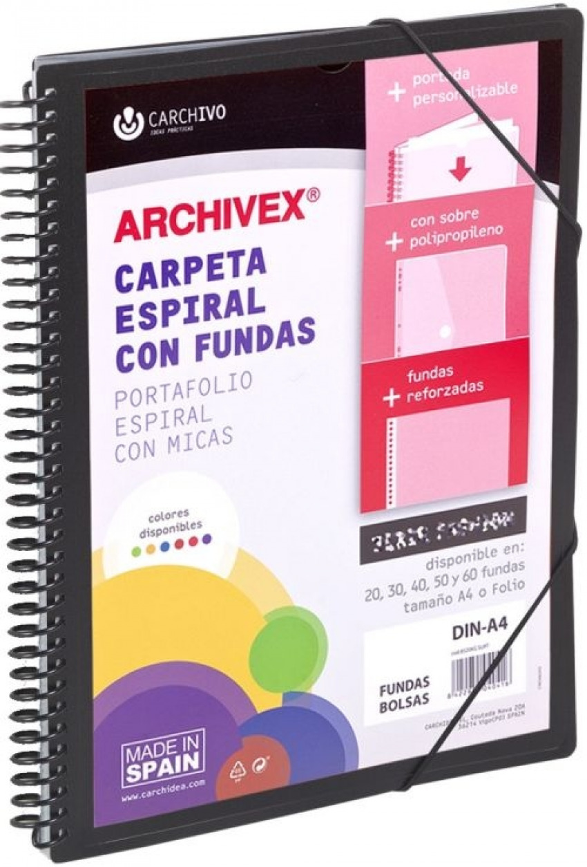 CARPETA 60 FUNDAS CANGURO A4 ARCHIVEX STAR NEGRO 8422951054567