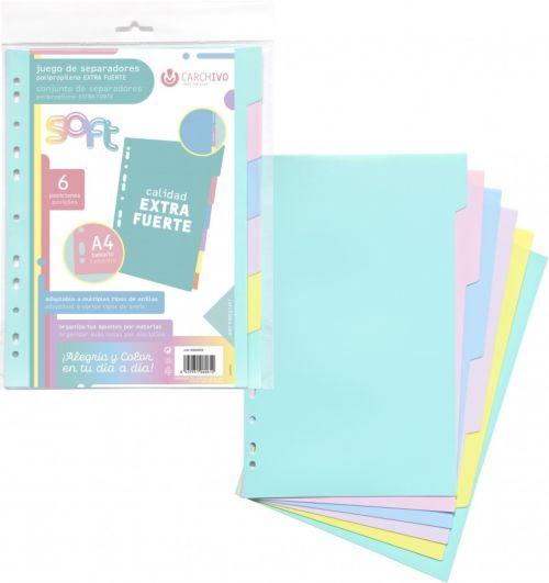 Bolsa separadores soft extra-fuerte 6 pestañas colores pastel multitaladro 8422951060612