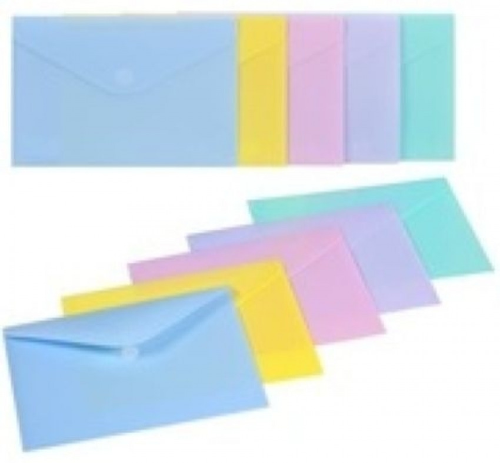 Paq/10 carpeta sobre fo. cierre velcro polipropileno colores pastel 8422951062944