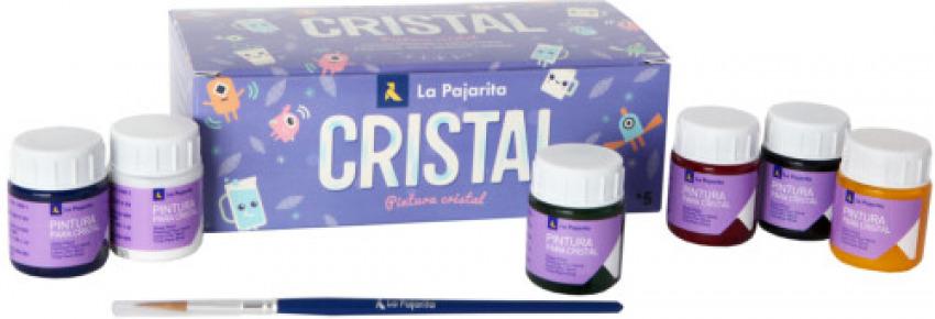 Estuche 6 botes pintura crystal la pajarita colores surtidos 25 ml.+ pincel 8423459999947