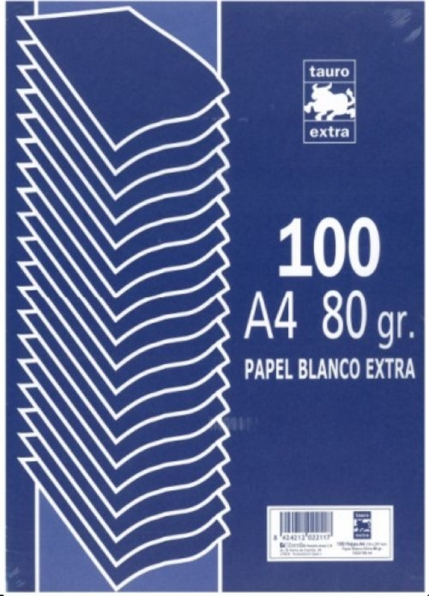 Paquete A4 100 hojas 80 g.liso Tauro extra 8424212022117