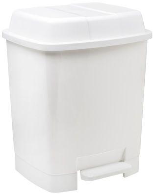Papelera de plastico con pedal color blanco 22l 8425901335013