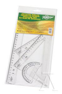 Estuche dibujo escolar transparente, regla 30 cm, escuadra y cartabón 25 cm, semicírcu