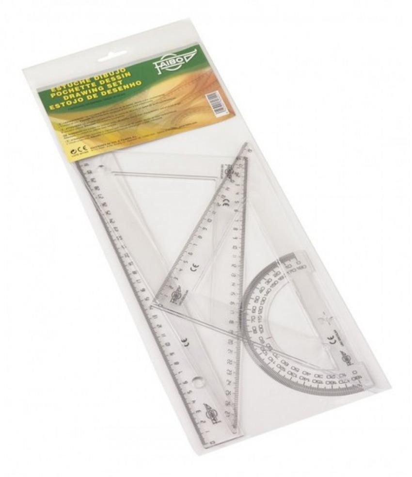 Estuche dibujo escolar transparente, regla 30 cm, escuadra y cartabón 30 cm, semic¡rculo 15