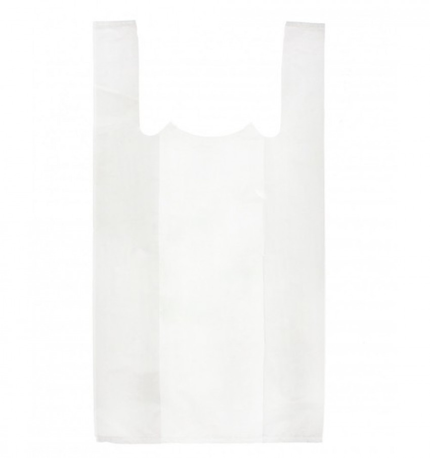 Paq/110 bolsa plastico camiseta 42x53cm color blanco 8426661244256