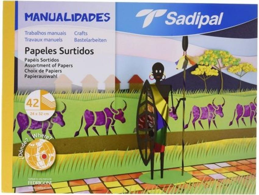 BLOC MANUALIDADES MULTIPLES 42 HOJAS PAPELES SURTIDOS SADIPAL 32X24CM 8427973059811