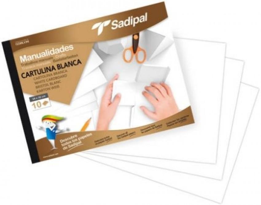 Bloc manualidades 10 cartulinas blancas 32x24cm línea básica Sadipal 8427973063016