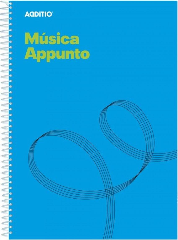 Cuaderno espiral a4 musica appunto 12 pentagramas de 9mm por pag.+ pag. cuadriculada para apuntes 84