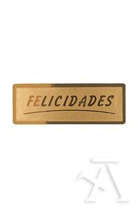 Rollo 300 etiquetas felicidades stamping 50x18 oro 8429640328015