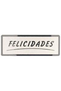 ROLLO 300 ETIQUETAS FELICIDADES STAMPING 50X18 PLATA 8429640328046