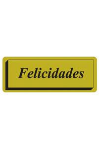 ROLLO 300 ETIQUETAS FELICIDADES TINTA 40X15 DORADA 8429640328114