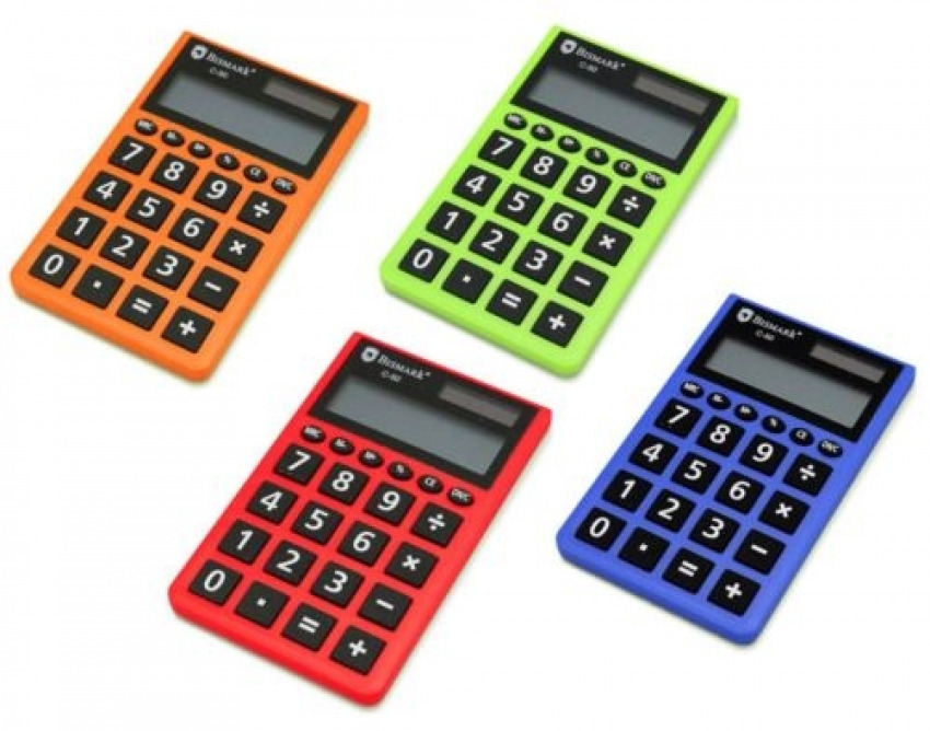 Calculadora de bolsillo bismark c-50. 8 digitos colores surtidos 8430173241122
