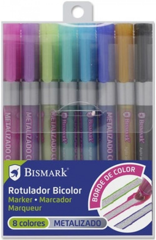 Estuche 8 rotuladores doble linea  plata + neon-pastel Bismark 8430173279064