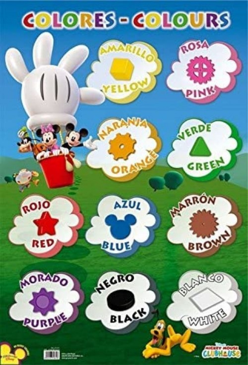LAMINA DIDACTICA COLORES MICKEY CLUB HOUSE PVC 40X59,5CM 8435107716318